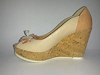 Кожаные польские женские стильные модные туфли на танкетке 36 Kordel