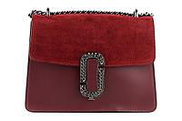 Итальянская женская сумка из натуральной кожи. Цвет: Бордовый, фото 1