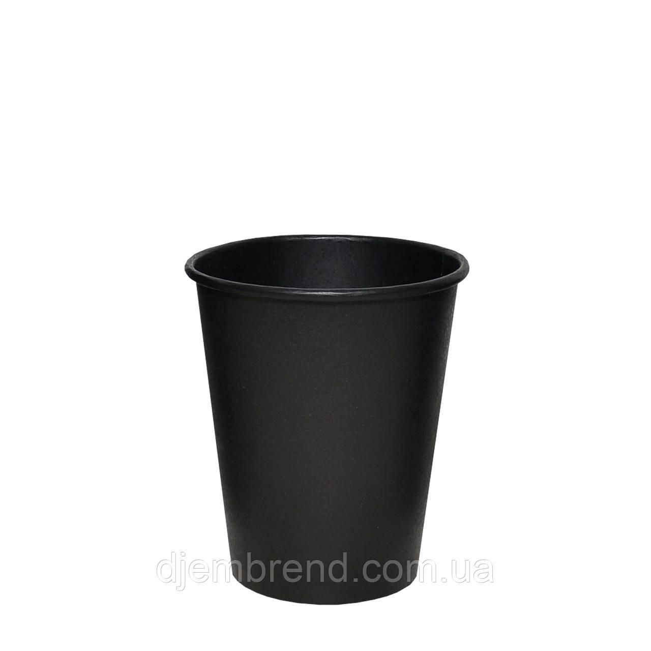 Стакан бумажный Крафт черный 250мл, 50шт/уп  (КВ79)