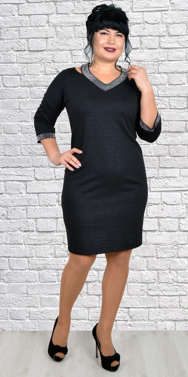 Черное вечернее платье с люрексом пышных форм 50-56