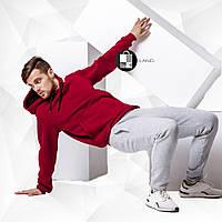 Мужской утепленный спортивный костюм - бордовая худи+серые штаны