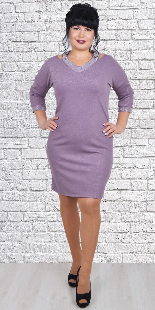 Эффектное романтичное сиреневое платье размеров 50-56