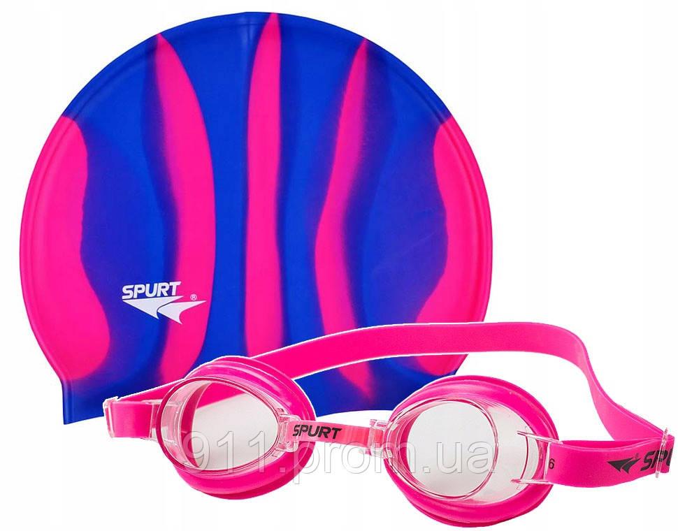 Набор для плаванья шапочка + очки Spurt