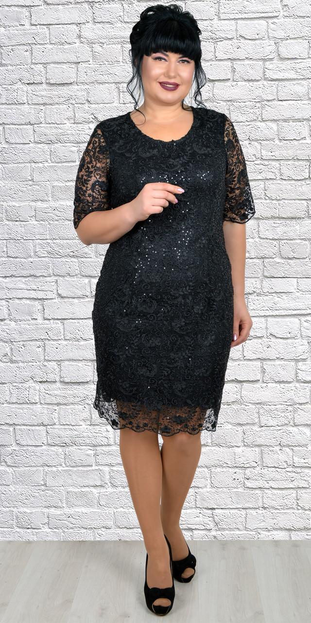 Кружевное черное платье средней длины все сезоны 50-58