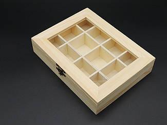 Шкатулка-органайзер для декупажа с замком и петлями. 15х20х4см