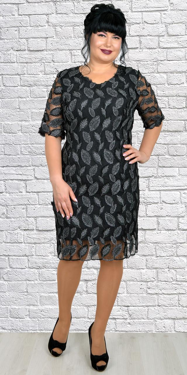 Черное женственное платье из новой коллекции весна-лето 52-60