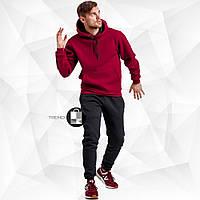 Мужской зимний спортивный костюм - бордовая худи+черные штаны