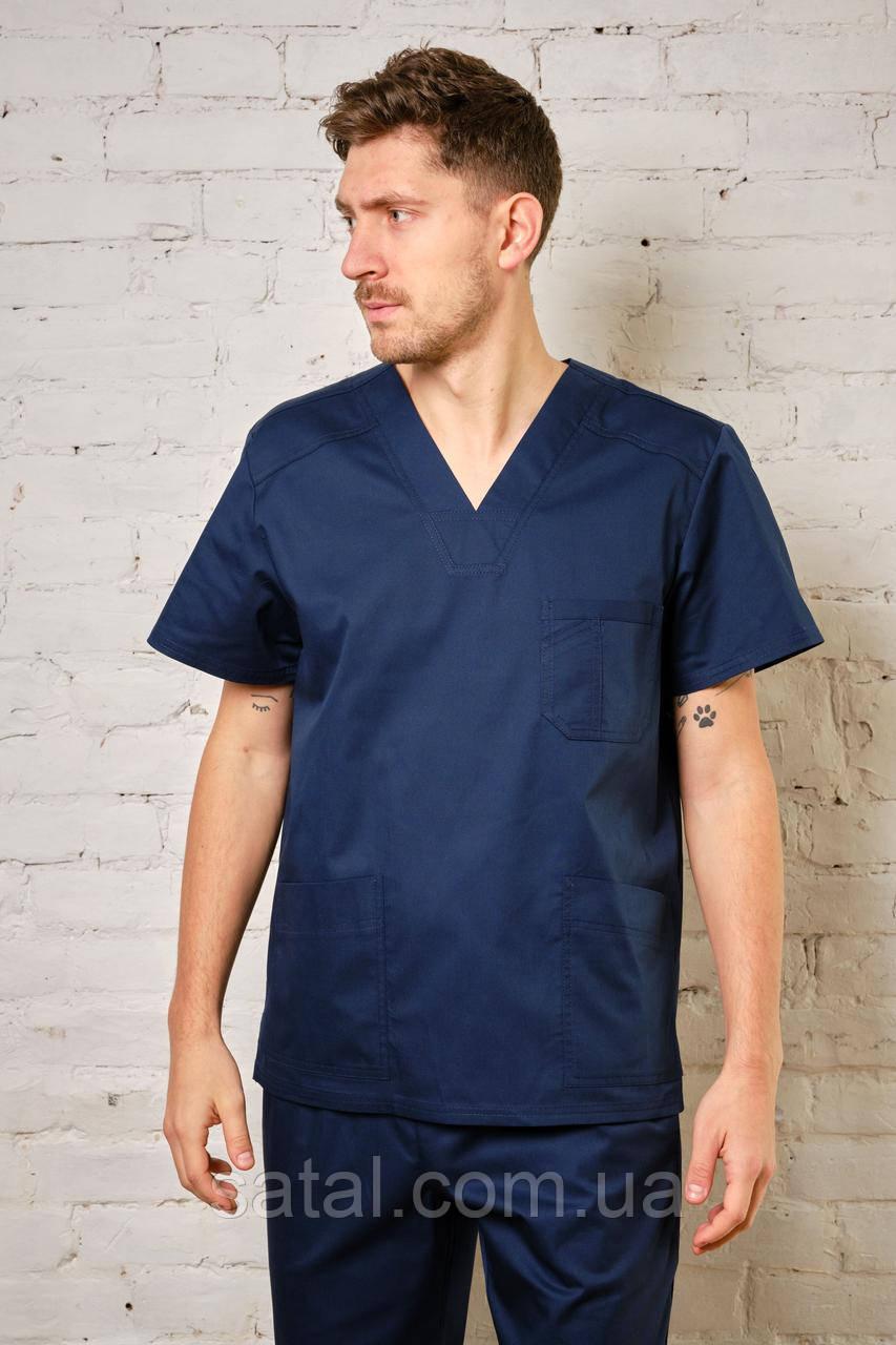 """Медицинский костюм """"Брюс NEW"""". Темно-синий. Рукав короткий. Саталь"""
