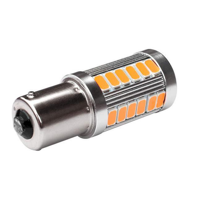LED лампа в автомобиль 1156 BA15S P21W, 33 SMD, желтая