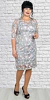 Пастельное женское платье с вышитыми розами 50-56, фото 1