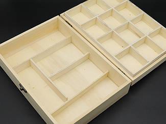 Шкатулка-органайзер для декупажа с замком и петлями. 28х20х8см