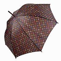 Женский зонт-трость c деревянной ручкой и логотипами брендов от SL, коричневый, 107-1
