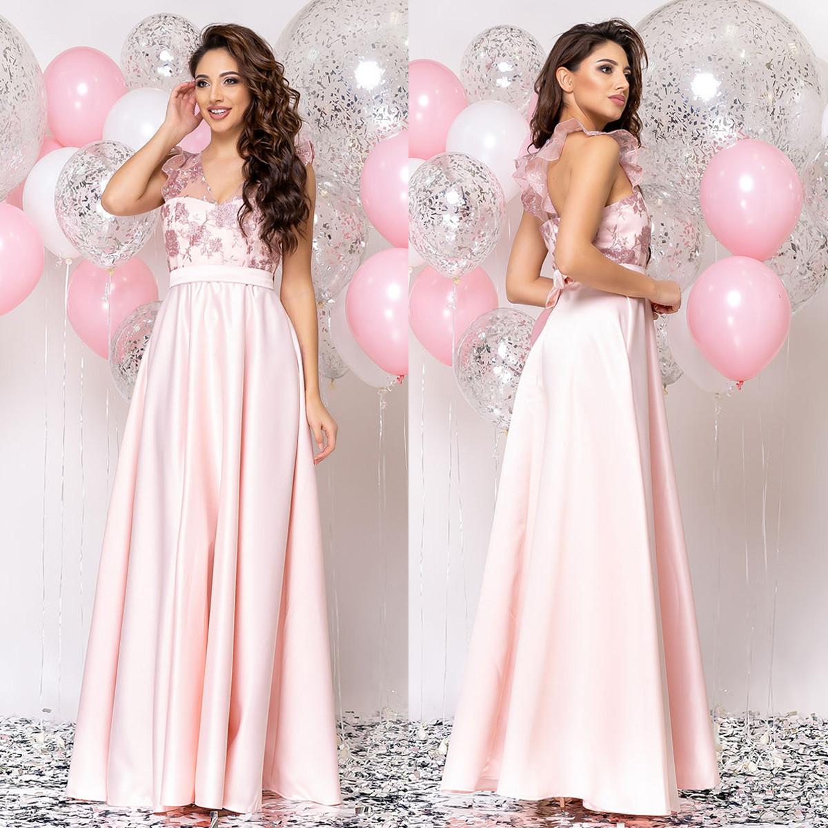 """Розовое вечернее платье в пол с атласной юбкой """"Энжел"""""""