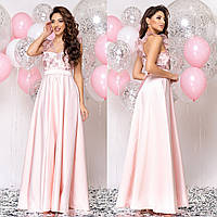 """Розовое вечернее платье в пол с атласной юбкой """"Энжел"""", фото 1"""