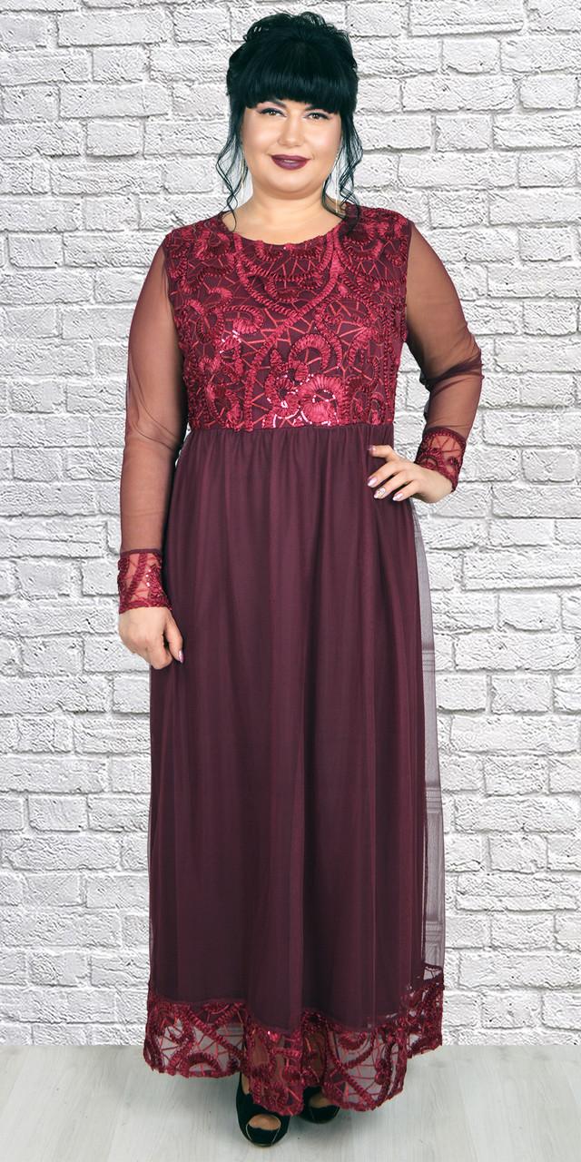 Торжественное бордовое платье макси из эвросетки 50-56