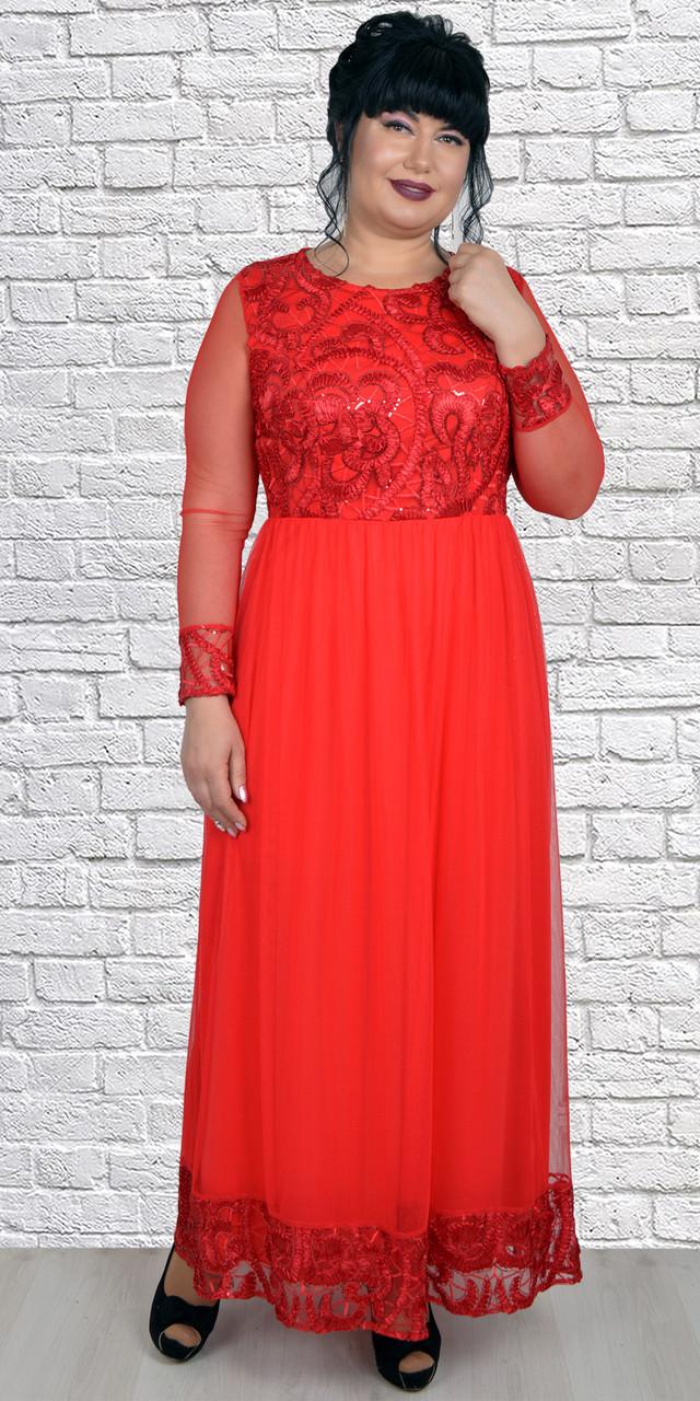 Красное нарядное платье в пол с фатиновой юбкой 50-56