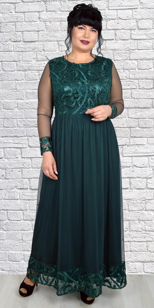 Красивое молодежное платье в пол с длинным рукавом темно-зеленое 50-56