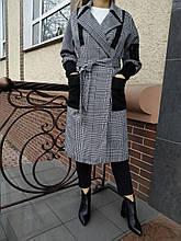 Пальто женские в клетку 1653 серое