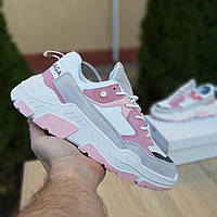 Женские кроссовки в стиле Balenciaga Triple S V2 серые с розовым