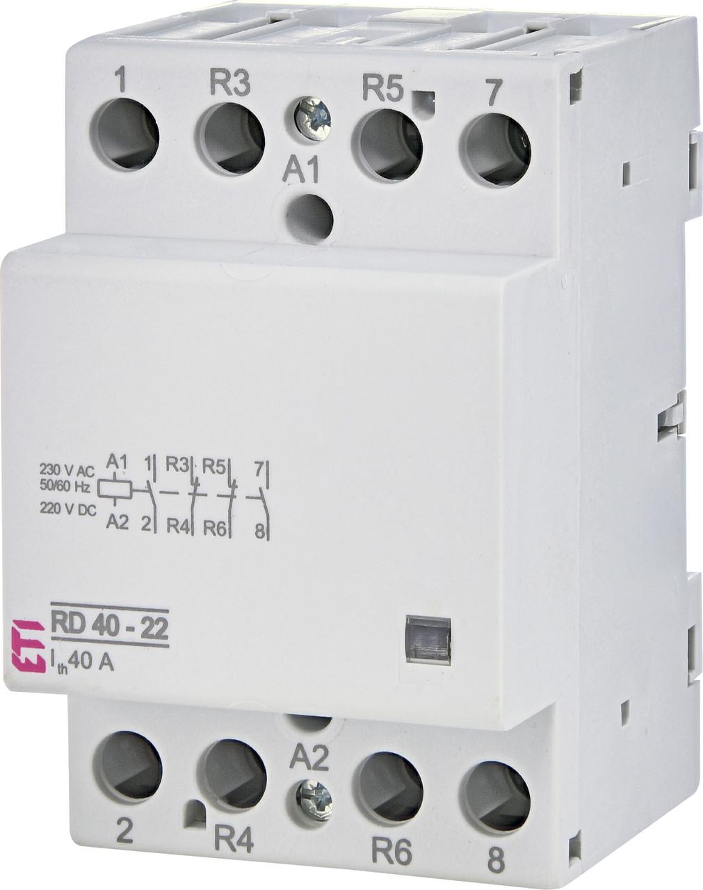 Контактор модульный ETI RD 40-22 40А 230V AC/DC 2NO+2NC 2464022 (модульный, на din-рейку)