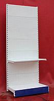 Торговые стеллажи перфорированные «Торпал» 195х80 см. (Украина), белый, Б/у, фото 1