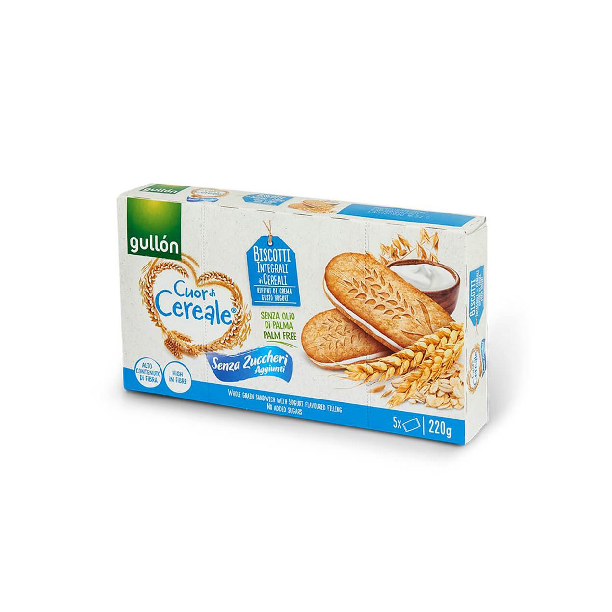 Печиво GULLON сендвічі Cuor di Cereale БЕЗ ЦУКРУ, з йогуртом, 220г, (8шт)
