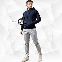 Мужской зимний спортивный костюм - темно-синий свитшот + серые штаны