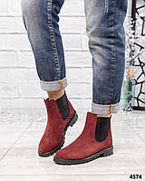 "Ботинки женские ""Челси"" цвета марсала"