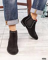 """Ботинки женские замшевые """" Челси"""" с декором черные"""