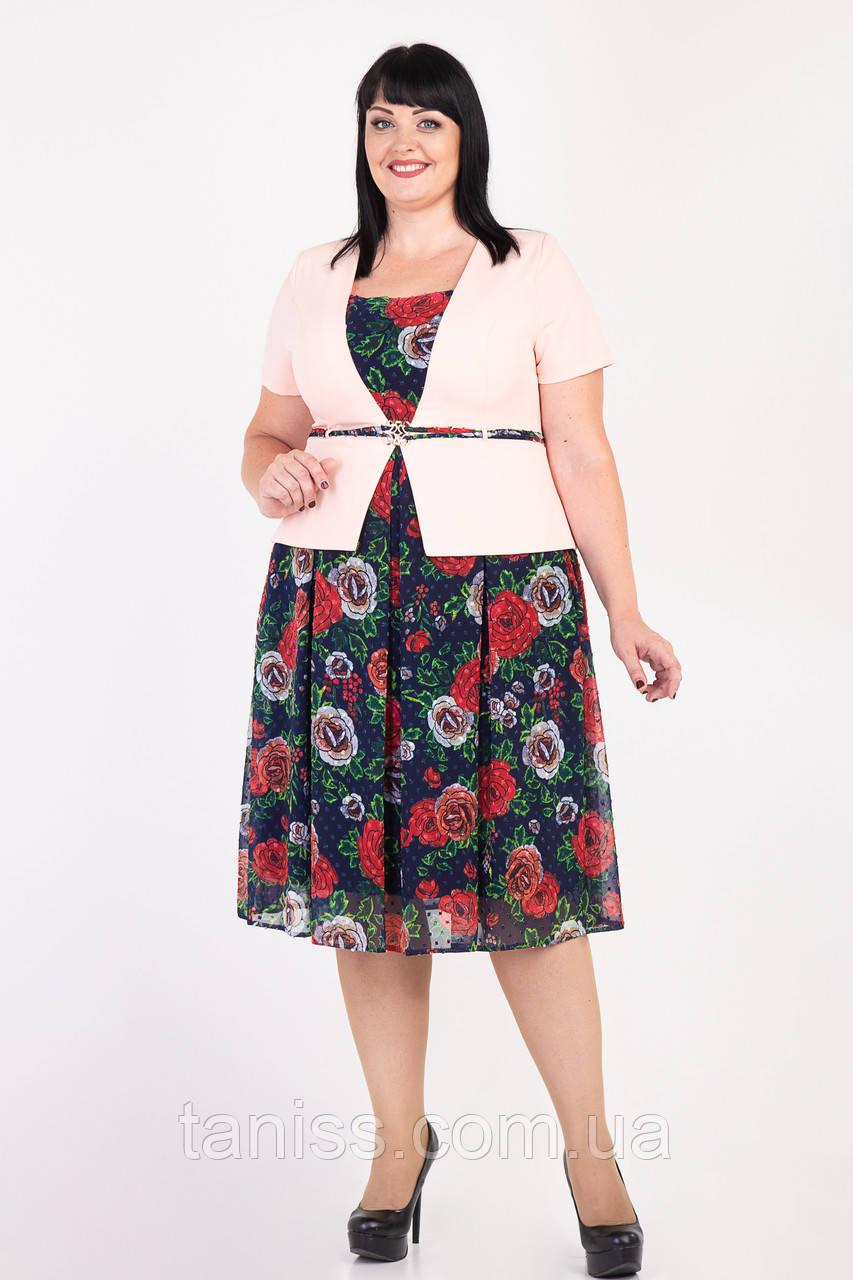 """Женское,нарядное,прогулочное платье """"Перис"""",ткань костюмная,шифон,размеры 58 розовое,сукня"""