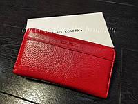 Красный кожаный женский кошелек на молнии Marco Coverna