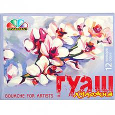 Гуашь художественная 12 цветов 20 мл «Гамма», фото 2