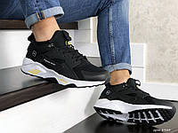 Мужские кроссовки Nike Huarache Fragment Design черные с желтым