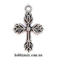 """Метал. подвеска """"крест"""" серебро (1,8х2,6 см) 12 шт в уп."""