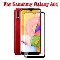 Защитное стекло с рамкой для Samsung Galaxy A01