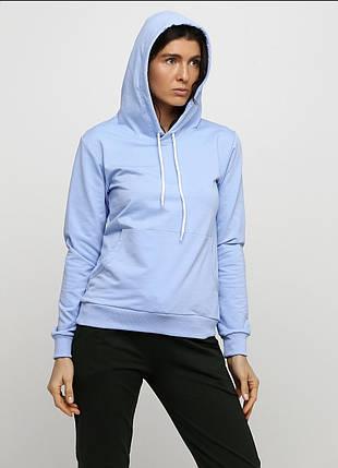 Худи женский с капюшоном, цвет голубой, фото 2