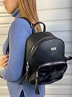 Женский кожаный рюкзак с мехом, черный