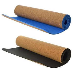 Коврик для йоги и фитнеса пробковый двухслойный 183х62х0.5 см MS 2515