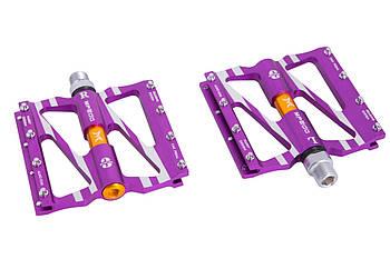 Велосипедные педали промподшипниках из алюминия со сменными шипами Mpeda ALNC-1061 BMX Фиолетовые (PED-090)