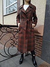 Пальто в клеточку Rafaello красное
