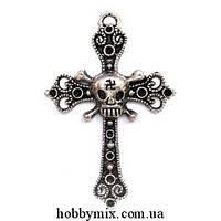 """Метал. подвеска """"крест"""" серебро (3,8х6 см) 3 шт в уп."""