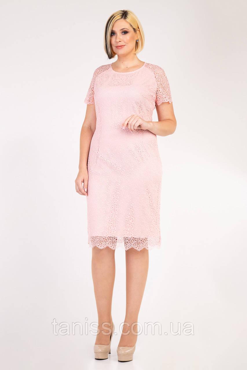 """Женское,праздничное,нежное платье """"Шенон"""",ткань гипюр, штапель,р. 48,50,52,54,56 (023) пудра ,сукня"""