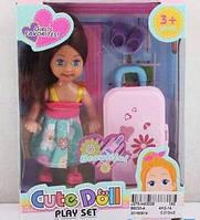 Кукла мини с чемоданом  в коробке