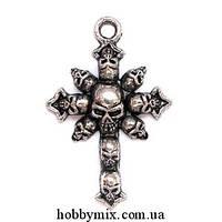"""Метал. подвеска """"крест"""" серебро (3х4,3 см) 4 шт в уп."""