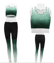 Женский спортивный комплект лосины с высокой талией и топ для спорта и фитнеса, фото 2