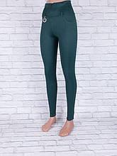 Лосины, Леггинсы женские с широким поясом зелёные