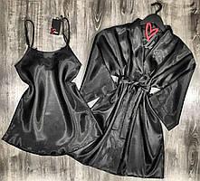 Черный комплект домашней одежды халат и ночная сорочка.