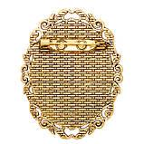 Основа для брошки Сеттінг овальна 52х40 мм античне Золото під кабошон 40х30 мм, фото 4