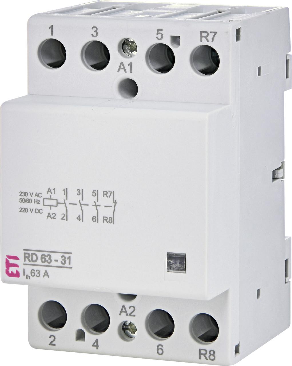 Контактор модульный ETI RD 63-31 63А 230V AC/DC 3NO+1NC 2464028 (модульный, на din-рейку)