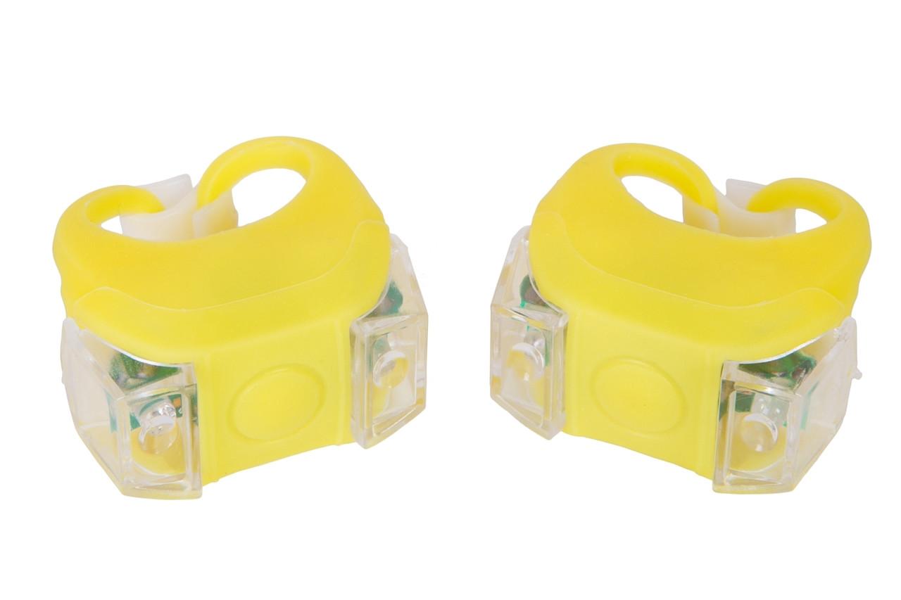 Мигалка 2шт BC-RL8002 белый+красный свет LED силиконовый (желтый корпус)
